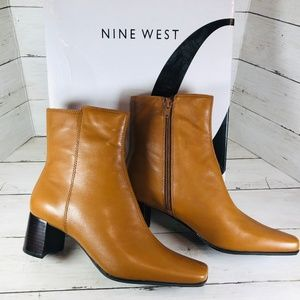 NWT Nine West WNOXYGEN Leather Ankle Boots Sz 7.5M